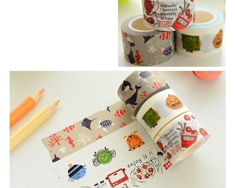 Paper Tape -  Tomato Dishes / Sea World - Grew up in time / 10M 25mm , Washi Tape
