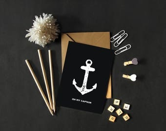 Card postcard Oh my Captain, anchor, black, minimalist, illustration