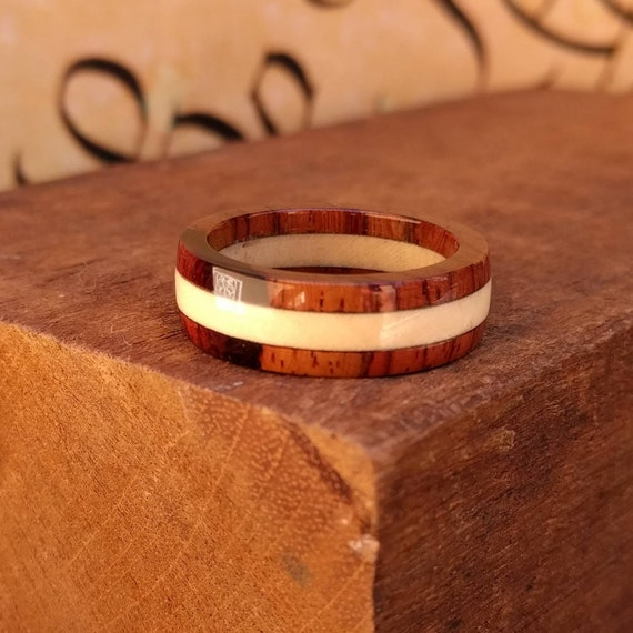 Rosewood and Holly Wood Ring - Wooden Ring Men Wedding Band Women Engagement Ring Wood Anniversary
