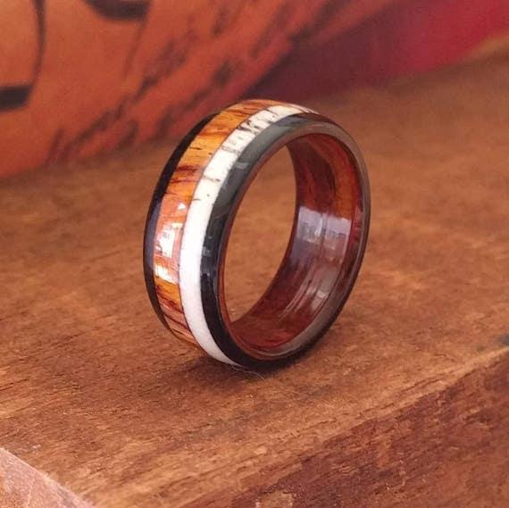 Elk Antler Wood Ring - Antler Wedding Band  Cocobolo Wood Ring  Wooden Ring Men Engagement Ring Woman Anniversary Wood