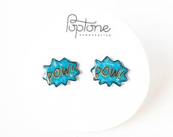 POW comic bubble earrings, geek chic studs, anime jewelry, geekery