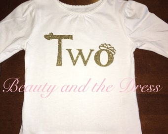 Two shirt, second birthday shirt, two tee, toddler second birthday, gold two birthday, two onesie, princess theme birthday, princess shirt