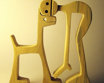 """sculpture wood scalloped """"a guy a dog, the return of the beast"""""""