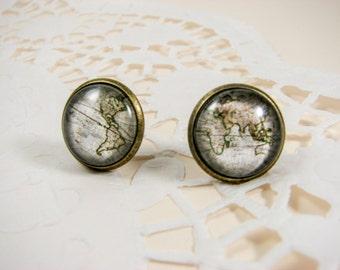 Map earrings, Vintage map, World map, Everyday earrings, Casual, Beige jewelry, Gift for traveler, Nickel free, Whole world wide, Glass dome