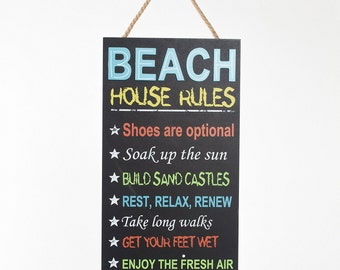 "ESE Handcrafted Wooden wall decor, nautical wood sign Chalkboard Hanging Sign ""Beach house rules"", 20""H"