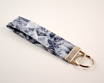 Gray Leaf  Wristlet Key Fob, Fabric Keychain, Stocking Stuffer, Teacher Gift
