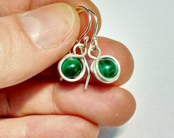 Malachite drop earrings, malachite and silver earrings, malachite bead earrings, green earrings, silver drop earrings, wirewrapped earrings