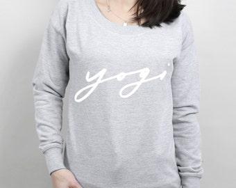 Yogi Scoop Neck Women's Sweater - yoga sweatshirt, slogan sweater, yogi sweater