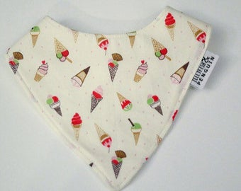 Small sweet icecream handmade bandana style dribble bib