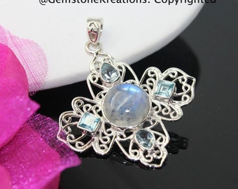 Moonstone, Topaz Pendant, Moonstone Necklace, Moonstone Jewelry, Rainbow Moonstone, Sterling Silver Pendant