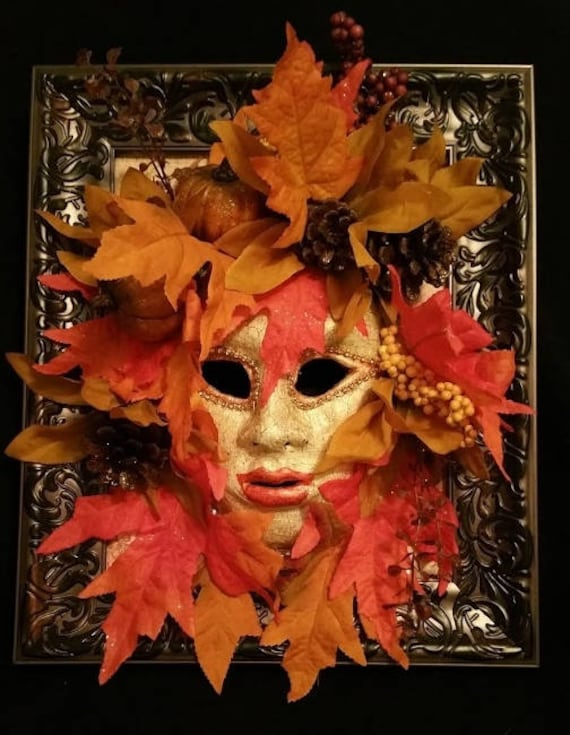 "Handmade, Original, One of a kind, paper mache, venetian style mask, set in a frame, ""Autumn"", made with Leaves, Flowers, depicting Fall"