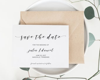 Save the Date, Printable Save the Date, Hand lettered Save the Date, Minimalist Save the Date, Watercolor, Calligraphy,