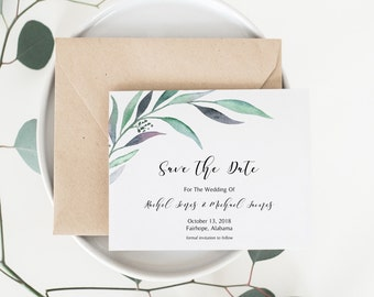 Save the Date, Eucalyptus Save the Date, Printable Save the Date, Save the Date Card, Floral Save the Date, Greenery Save the Date