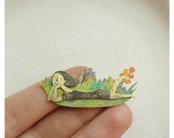 "Brass brooch ""Girl in a grass"""