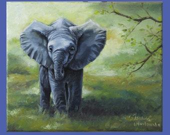 """Original Oil Painting, BabyElephant, size 10""""x12"""""""
