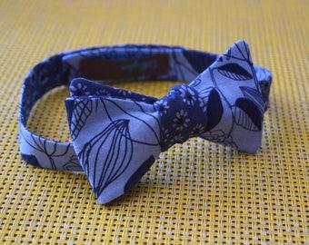 Steel Blue Pattern Bow Tie