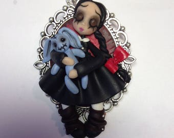 Creepy doll,polymer clay pendant,gift for her,miniatures,necklaces,ooak dolls,sculptures in polymer clay