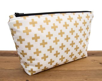 Gold Makeup Bag - Metallic Makeup Bag - Gold Crosses - Makeup Bag Gold - Gold and White Wash Bag - White and Gold Makeup Bag #40