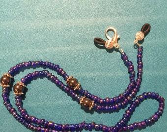 "Beautiful Sapphire Blue Eyeglass Chain estimated 23.5"" long, eyeglass holder"