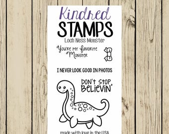 Lochness Monster Rubber Stamp Set, 2x3 Clear Stamp, Loch Ness, Nessie, Don't Stop Believin, I never look good in photos, Scotland, Scottish