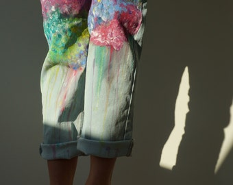 Paint splattered hand painted jeans
