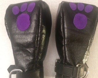 Leather puppy or kitten play mittens