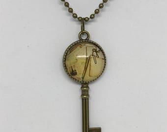 """Antique Bronze Necklace, Antique Key Charm, 24"""" Chain"""