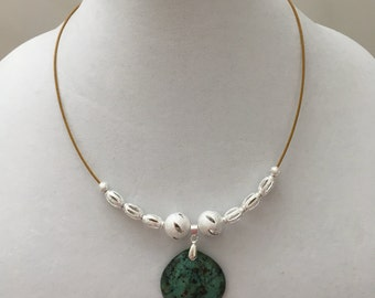 Green Silver Cable Necklace