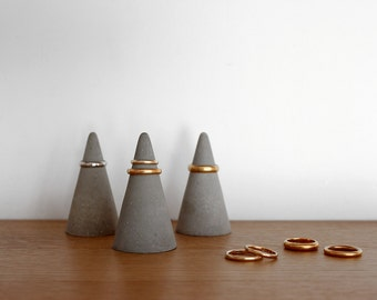 Large Concrete Ring Cone  Set of 3 // Tall Cement Ring Holders
