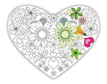 Blooming Hearts Coloring Page - Instant Digital Download