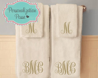 Custom Monogrammed Bath or Hand Towels, Monogrammed Hand Towels, Monogrammed Bath Towels, Embroidered Towels, Monogrammed Towel Sets