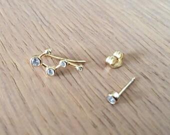 Sterling silver 925 constellation earrings,crawler earrings,climber earrings,galaxy astronomy,horoscope jewelry,zodiac earrings,gift for her