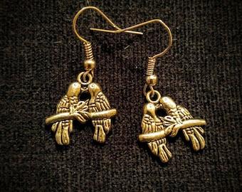 Lovebirds Parrots Silver Earrings