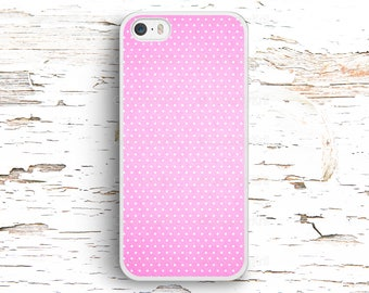 Simple Pink Texture, White Dots, iPhone 7 6S 6 SE 5S 5 5C 4S, Samsung Galaxy S6 Edge S5 S4 S3, LG G4 G3, Sony Xperia Z5 Z3, HTC One M8