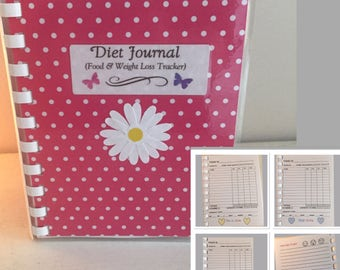 """Diet Journal Food & Weight Loss Tracker - 60 Day Pocket 5 3/4"""" x 4 1/2"""" or large 8 1/2""""x 6"""""""
