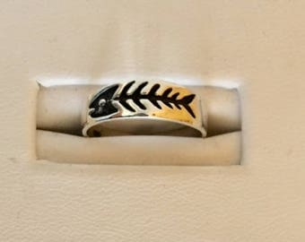 USA FREE SHIPPING!! Native American Style Sterling Silver Fish Skeleton Toe Ring