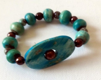 Turquoise Boho beaded stretch bracelet, , Modern Ibiza style turquoise cuff
