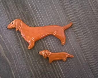 SALE- Dachshund Wiener Dog Mama and Puppy Magnet Set- Handmade Great Holiday Birthday Mothers Day Christmas Gift