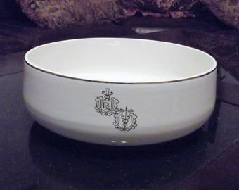 "Vintage Hall Pharmacy * RX MEDICAL CADUCEUS * 9"" Salad Serving Bowl"