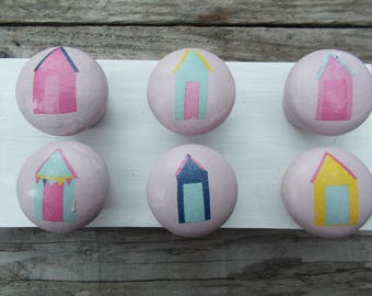 fun in the sun beach hut wooden knobs x 6
