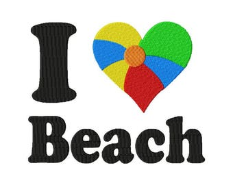 I heart the beach, I love the beach embroidery design