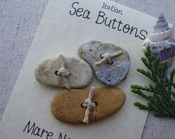 Handcrafted genuine Italian sea seaside stones buttons-buttons-trend accessories