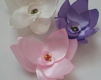 Pink flowers, Flower applique, SEW on appliques, satin flowers, Lilac fabric flowers, ivory wedding decor, wedding decor, pink rose petals.