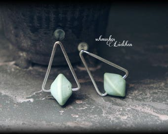 925 Silver geometric triangle earrings with turquoise beads