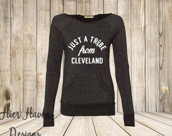 Just A Tribe From Cleveland - Indians Inspired Wideneck Eco Fleece Sweatshirt