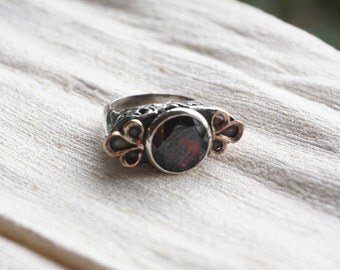 Garnet Ring with Rose Gold