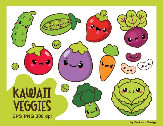 30% OFF, Kawaii vegetables clipart, kawaii veggies clipart ...