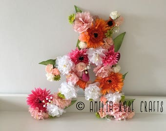 Custom handmade floral letter nursery wedding
