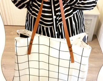 Large bag Tote in canvas and leather lamb