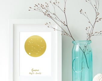 Gemini Zodiac Constellation Alternative, Astrology, Star Signs, Horoscope. Real Foil Print. Home Decor. Homemade Gift. Love. Personalised,
